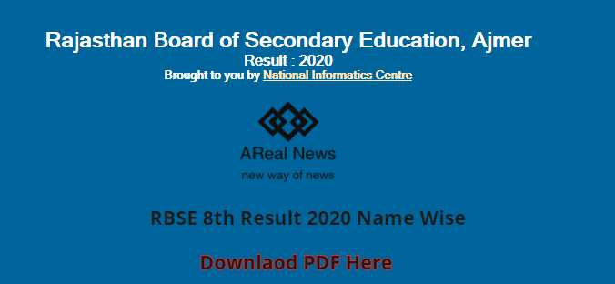 RBSE 8th Result 2020