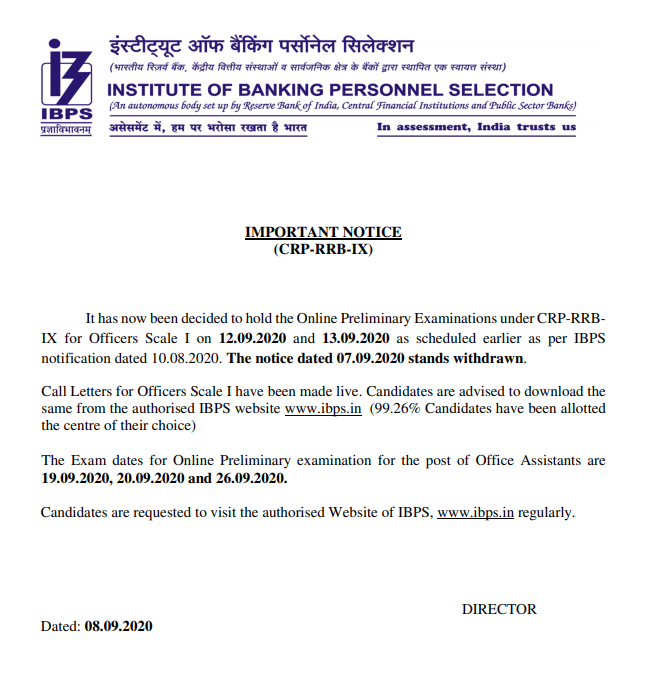 ibps rrb exam date areal news