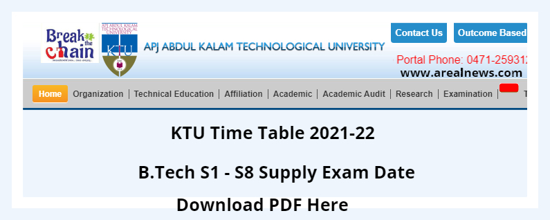 KTU Time Table 2021-22