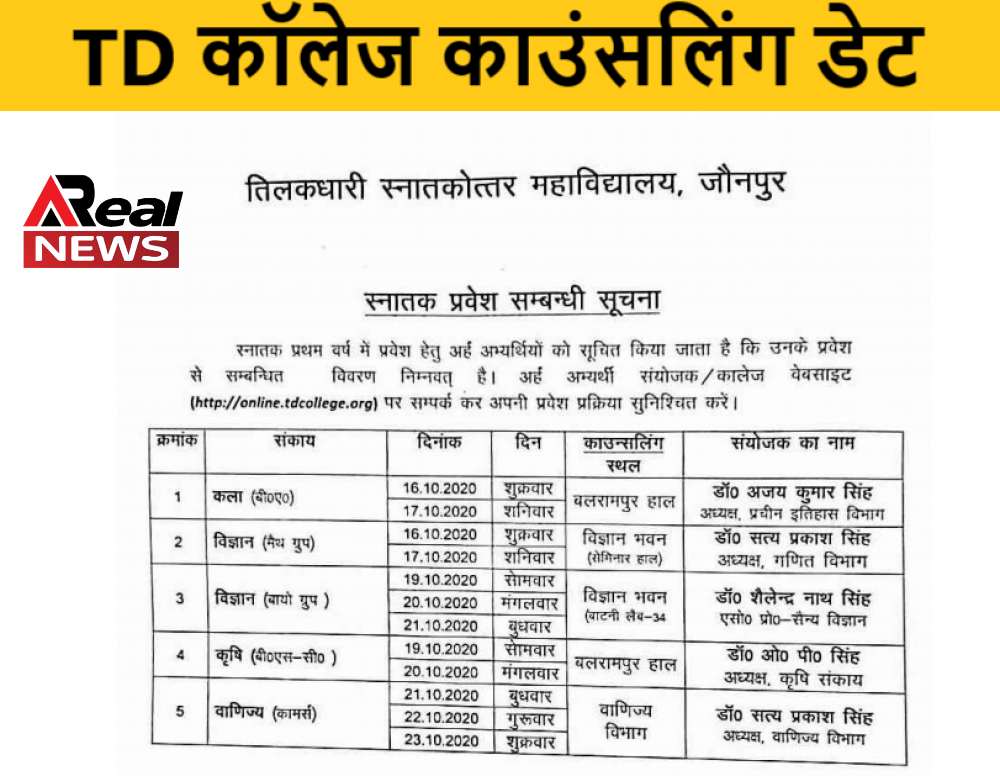 TD College Counselling Date_Result 2020