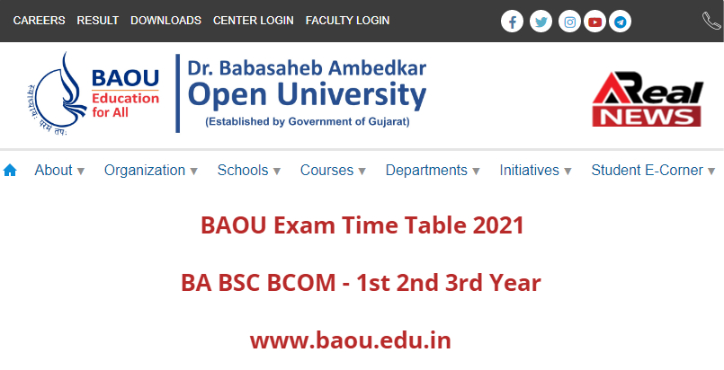 BAOU Exam Time Table 2021