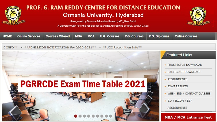 Pgrrcde Exam Time Table 2021 Www Oucde Net Oucde Exam Schedule