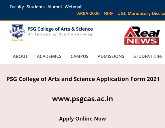 PSG College of Arts and Science Application Form 2021